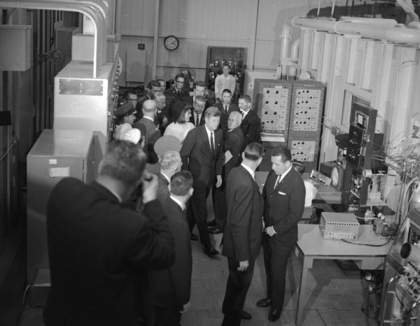 The President and First Lady make an impromptu visit to the Bioastronautic-Biodynamics Laboratory, one of the new buildings dedicated that day.   (MS 360:  E-0009-141-A-04)
