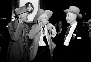 A.H. Elnaugh, 77; W.L. Miller, 75; and G.W. Coleman, 89 (l.-r.) reminisce at the 23rd convention of the Old Trail Drivers Association at the Gunter Hotel.