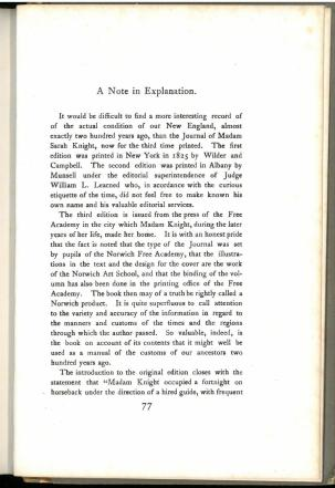 Page 77. The private journal of Sarah Kemble Knight... (1901) by Sarah Kemble Knight.
