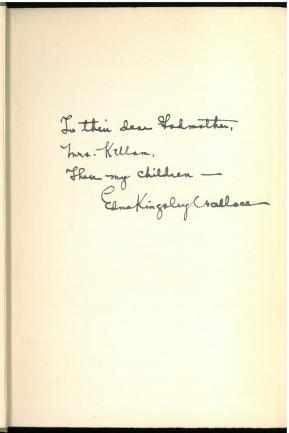 Inscription. Feelings and Things : Verses of Childhood (1916) by Edna Kingsley Wallace.