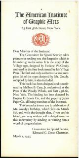 Printed letter laid in. The Story of the Village Type (1933) by Frederic W. Goudy.