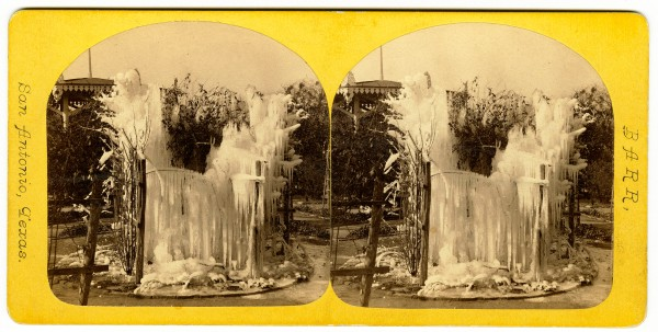 Icicles on fountain in garden of J. H. Kampmann residence, 311 Nacogdoches (Bonham) Street, 1870s.  (General Photograph Collection, MS 362: 104-1002)