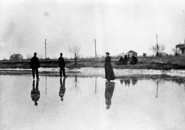 Adolph Wagner, Ernst Steves, and Mrs. Aaron Pancost  ice skate on West End (Woodlawn) Lake, 1899.  (General Photograph Collection, MS 362: 104-1002)