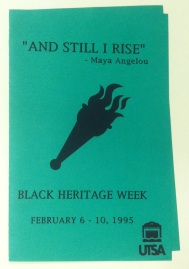 Black Heritage Week brochure 1995, UTSA University Archives Vertical File, UA 1.03, University of Texas at San Antonio Libraries Special Collections