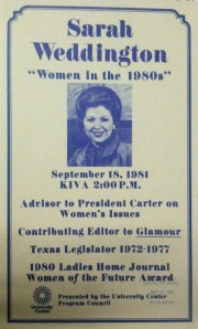 Women in the 1980s, Lecture by Sarah Weddington, 1981-09-18, UTSA University Center Records