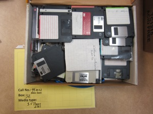 "3.5"" floppy disks in the unprocessed Norma Cantu collection."