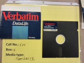 "5.25"" floppy disks found in the University Archives collections."