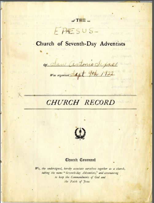 Ephesus Church of Seventh-Day Adventists, church record, 1873-1928