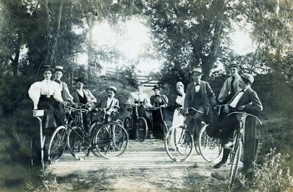 Bicycle club on country lane near Victoria, circa 1897.  (General Photograph Collection MS 362: 080-0138)