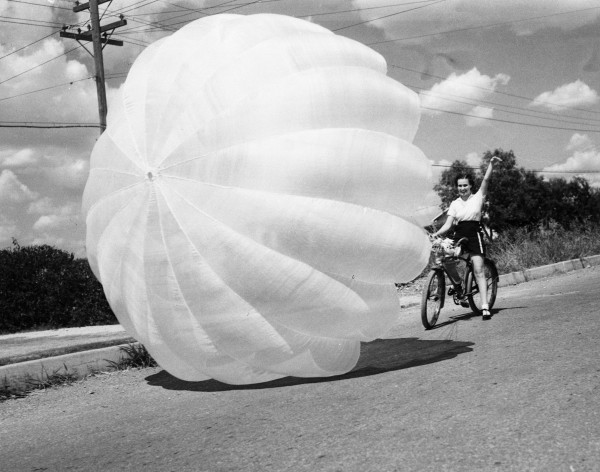 "Dorothy Willis demonstrates ""parabiking"" shortly after it was introduced to the area, San Antonio, August 1937.  (San Antonio Light Photograph Collection MS 359: L-1606-O)"