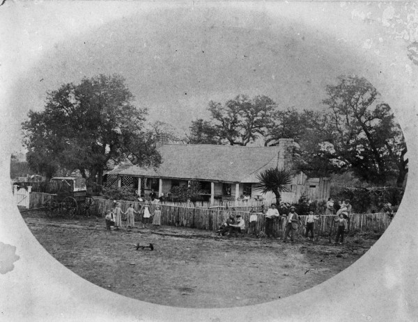 --Dogtrot log house of Carl and Ottile Goeth at the German community of Cypress Mill, Blanco County, circa 1880.  (MS 362: 070-0096)