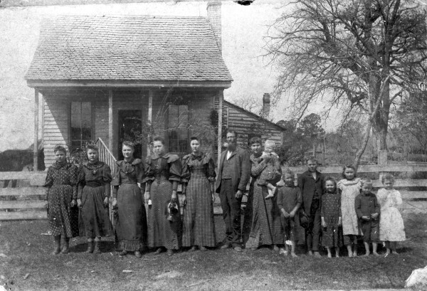 -- Polk Priestly family outside farmhouse near Turney, Cherokee County, 1894.  (MS 362: 081-0671)