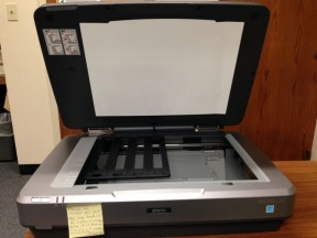 We use a flatbed scanner for digitizing negatives from our historic photo collection.