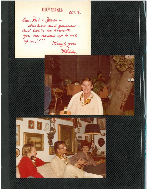 Roddy McDowell photographs and note, 1980