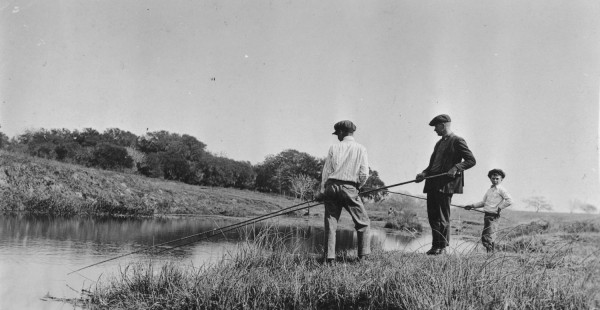Victoria residents fishing in the Garcitas Creek, 1921.  Photograph by J. D. Mitchell.  (General Photograph Collection, MS 362:  080-0172)