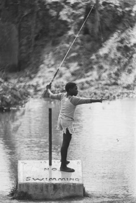Fishing hole in the Medina River near San Antonio, 1982.  (San Antonio Express-News Collection, MS 360:  E-0092-021-09)