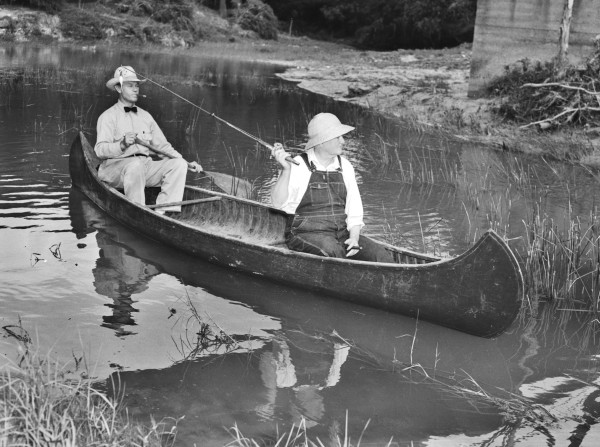 Vice-President John Nance Garner (right), with Ross Brumfield, on a canoeing and fishing trip on the Leona River near Uvalde, 1939.  (San Antonio Light Collection, MS 359:  L-2209-H)