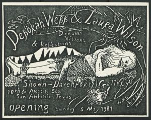 Postcard for Deborah Webb and Laura Wilson exhibit at the Shown-Davenport Gallery, May 1981