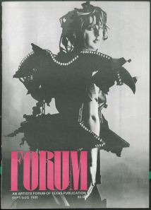 Forum Sept/Oct 1986 front cover featuring model Erica Kymes in folded-paper tunic designed by Basil Burgess, photograph by Reuben Njaa