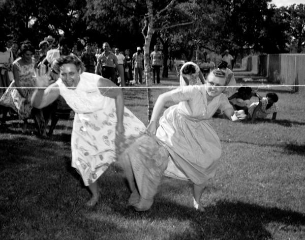 Three-legged race, 1958.  (MS 355: Z-1807-B-26)