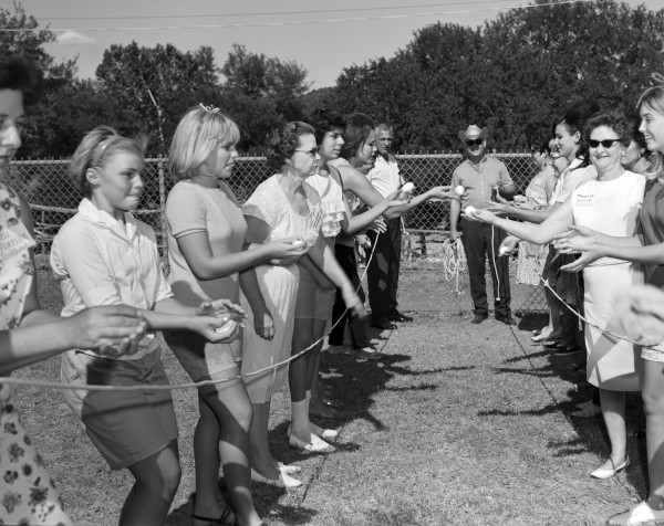 Preparations for an Egg Toss, 1967.  (MS 355: Z-1833-1)