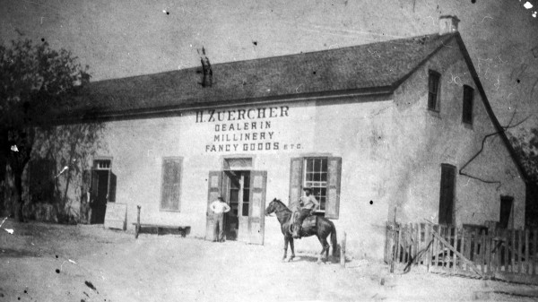Zuercher Millinery in Klappenbach Building, Madrid Street (Houston Square), circa 1900.  (MS 362:  072-0877)