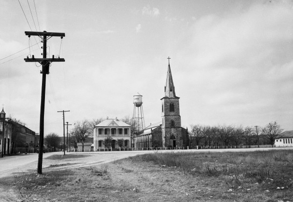 St. Louis Catholic Church on Houston Square, 1951.  (MS 359: L-4106-A)