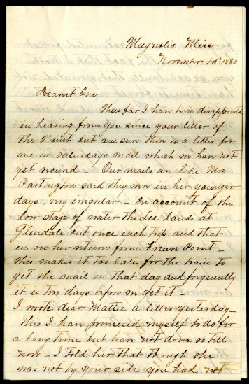 Letter from Henry Denison Brown to Jeanie V. Brahan, November 1, 1880