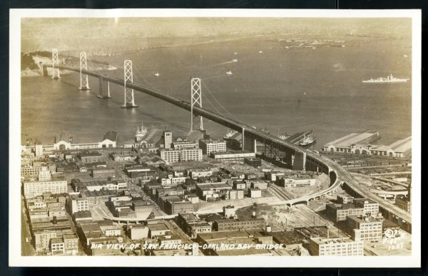 Postcard showing the San Francisco-Oakland Bay Bridge, 1939