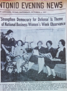 Scrapbook newsclipping, October 4, 1941, BPW-SA, MS 7