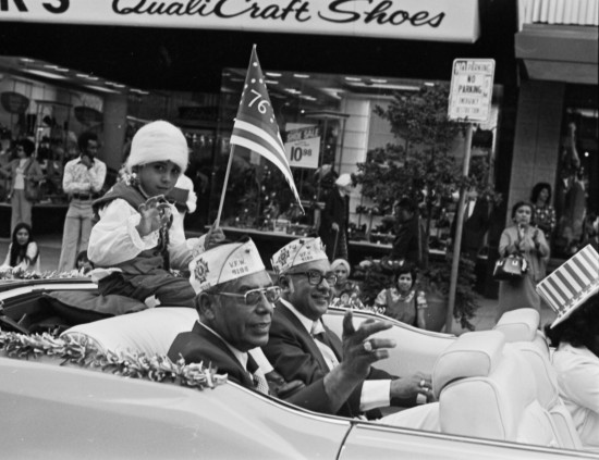 John Van Brant, in Spirit of '76 costume, rides with two veterans in the 1975 Veterans Day Parade  (MS 360:  E-0036-170)