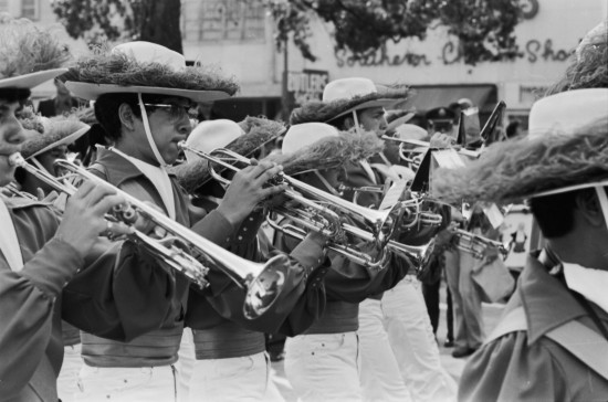 Thomas Jefferson High school band on Alamo Plaza, Veterans Day Parade, November 11, 1978  (MS 360:  E-0049-099)
