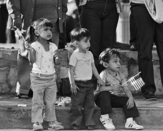Young spectators at Veteran's Day Parade, 1983  (MS 360:  E-0194-028-02)