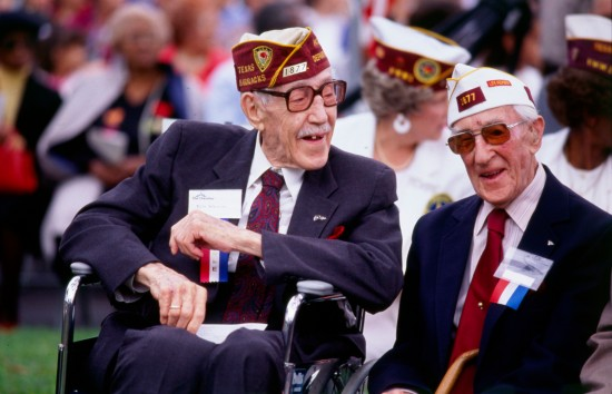 Miles Wasson (left) visits with another World War I veteran at Fort Sam Houston ceremony, 1989.  (MS 359:  L-7272-26-25)