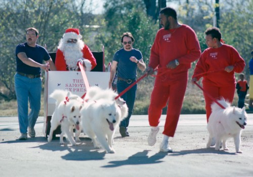 "Santa Claus arrives at East Side Multi-Service Center for ""Santa's Soul Day,"" a Christmas event for disadvantaged children, 1987.  (MS 360: EN1989-12-15-24)"