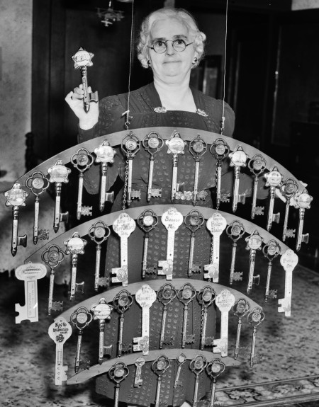 Gillie Turk with her collection of thermometer keys from each of the 46 cities in 38 states that she has visited, October 1939  (MS 359:  L-2258-D)