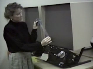Screen shot of a Library reference video, created circa 1987-1989 on VHS for the Library's Public Services Department. Digitized and uploaded by UTSA Libraries Special Collections as part of UA 05.02.