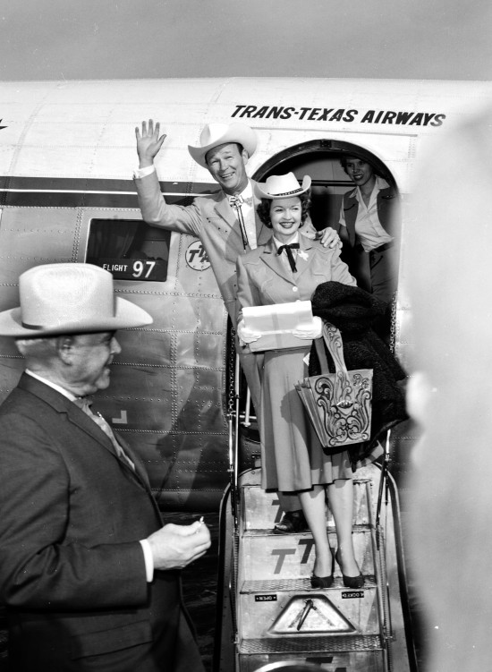 Roy Rogers and Dale Evans arrive in San Antonio on a Trans-Texas airliner, February 14, 1961 (MS 355:  Z-2492-A-22738)