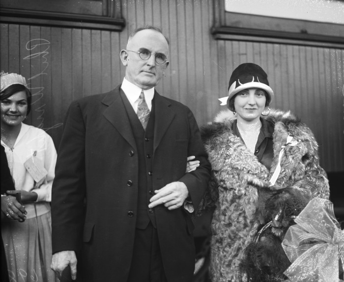 "Acting mayor Phil Wright welcomes Josephine Lucchese home following appearances in New York and Philadelphia in the opera ""Rigoletto,""  November 1926. (MS 359:  L-0698-F).  Lucchese (1893-1974), known as the ""American Nightingale"" in Europe, gave both opera and concert performances during the 1920s and 30s."