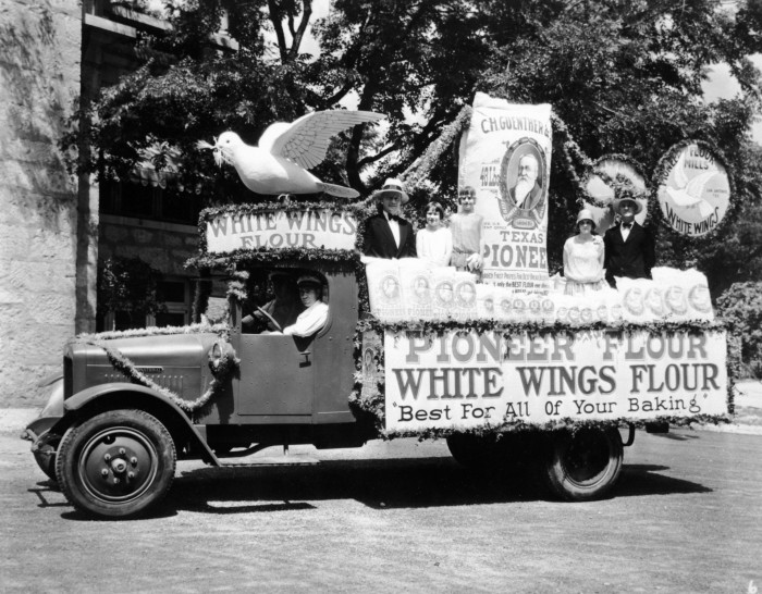 Pioneer Flour Mills float featuring their White Wings Flour, April 25, 1929.  (General Photograph Collection, MS 362:  082-0674)
