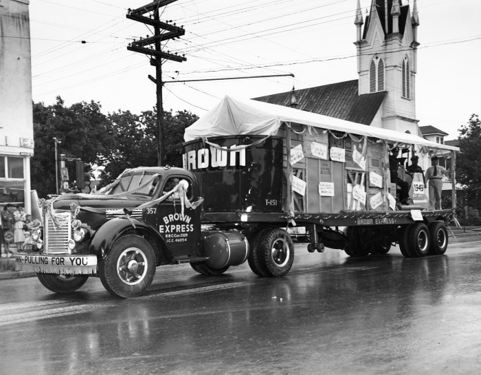 Brown Express truck on North Alamo Street near Grace Lutheran Church, April 20, 1949.  (Zintgraff Studio Collection, MS 355: Z-0686-1-A)