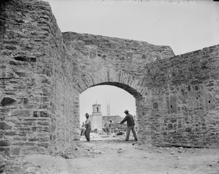 Fortified gate constructed by Civil Works Administration employees from plans by restoration architect Harvey Smith, February 1934.  (MS 359:  L-207-E)
