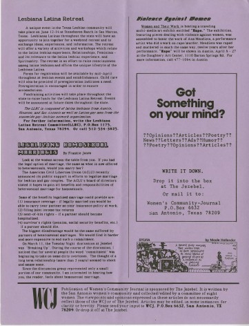 Women's Community Journal, March 1987, page 6