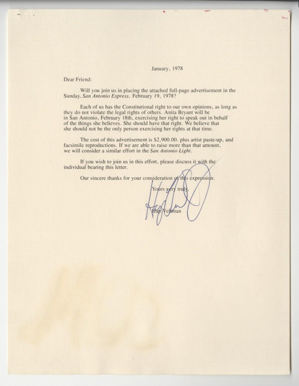 Letter from Hap Veltman requesting contributions for ad, MS 428, Gene Elder papers