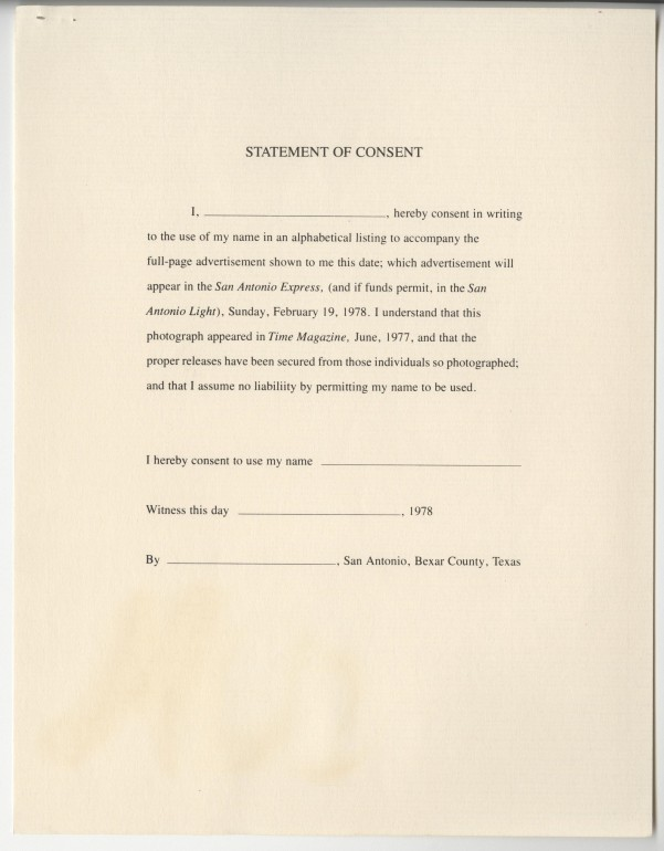 Release form for SA Express-News ad, MS 428, Gene Elder papers