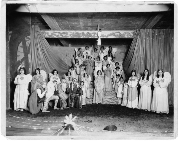Jovita de la Rosa (far left) and other participants in a nativity play at Immaculate Heart of Mary Parochial School.  Photograph by Hugo L. Summerville, circa 1928.  MS 454:  115-170)