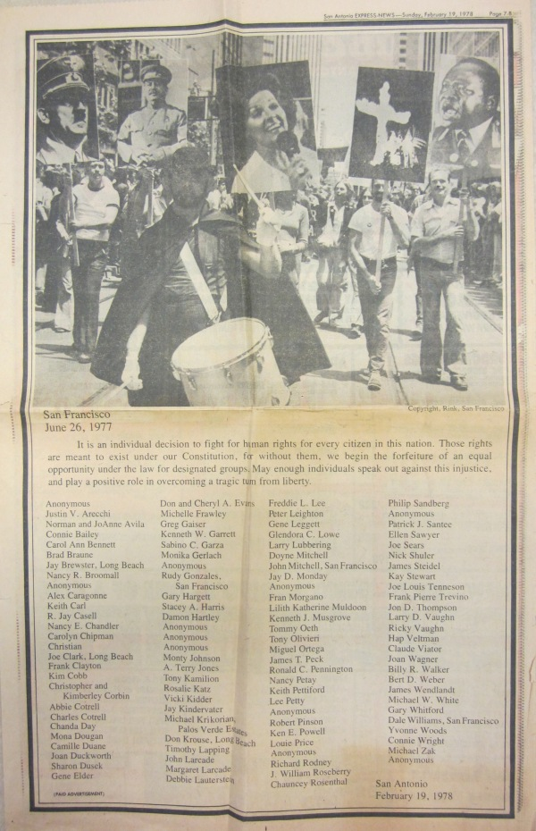 Anita Bryant protest advertisement, MS 428 Gene Elder papers