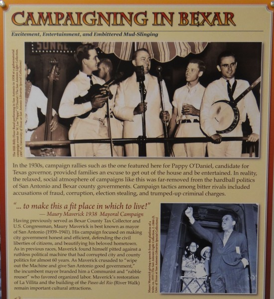 Panel showing photographs of Pappy Lee O'Daniel and Maury Maverick campaigning in San Antonio during the 1930s.
