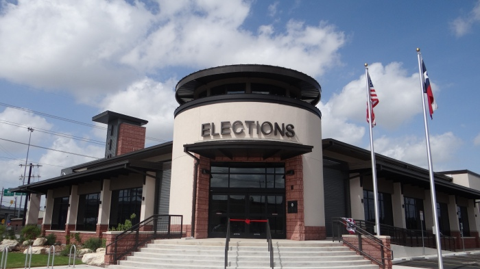 Entrance to the Elections Department, 1103 S. Frio Street.