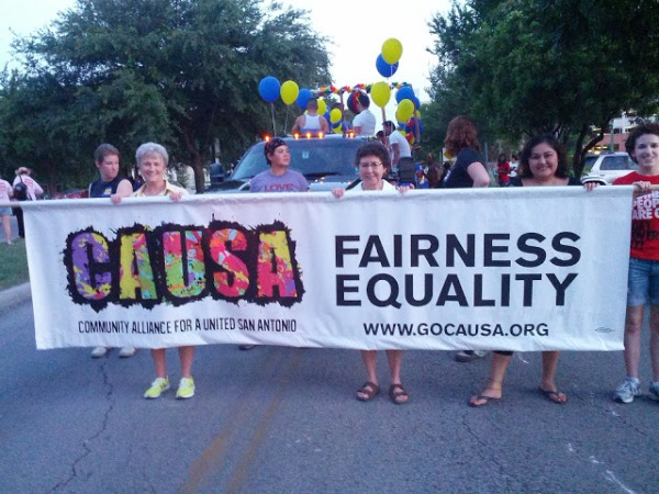 Marching with CAUSA Banner in Gay Pride Parade, June 30, 2013